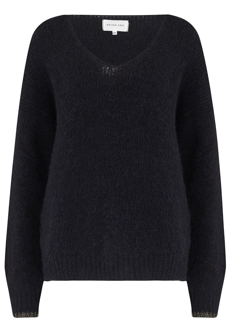 MAISON ANJE Lauguste Wool Mix Jumper - Black main image