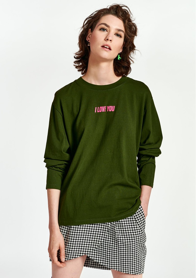 ESSENTIEL ANTWERP Watement Organic Cotton Long Sleeve Tee - Polo Green  main image
