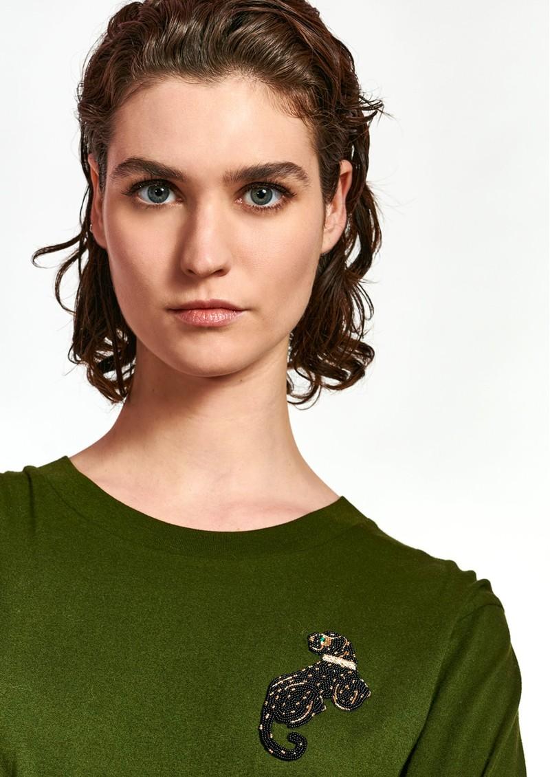 ESSENTIEL ANTWERP Wanthera Embellished Organic Cotton T-Shirt - Palace Green main image