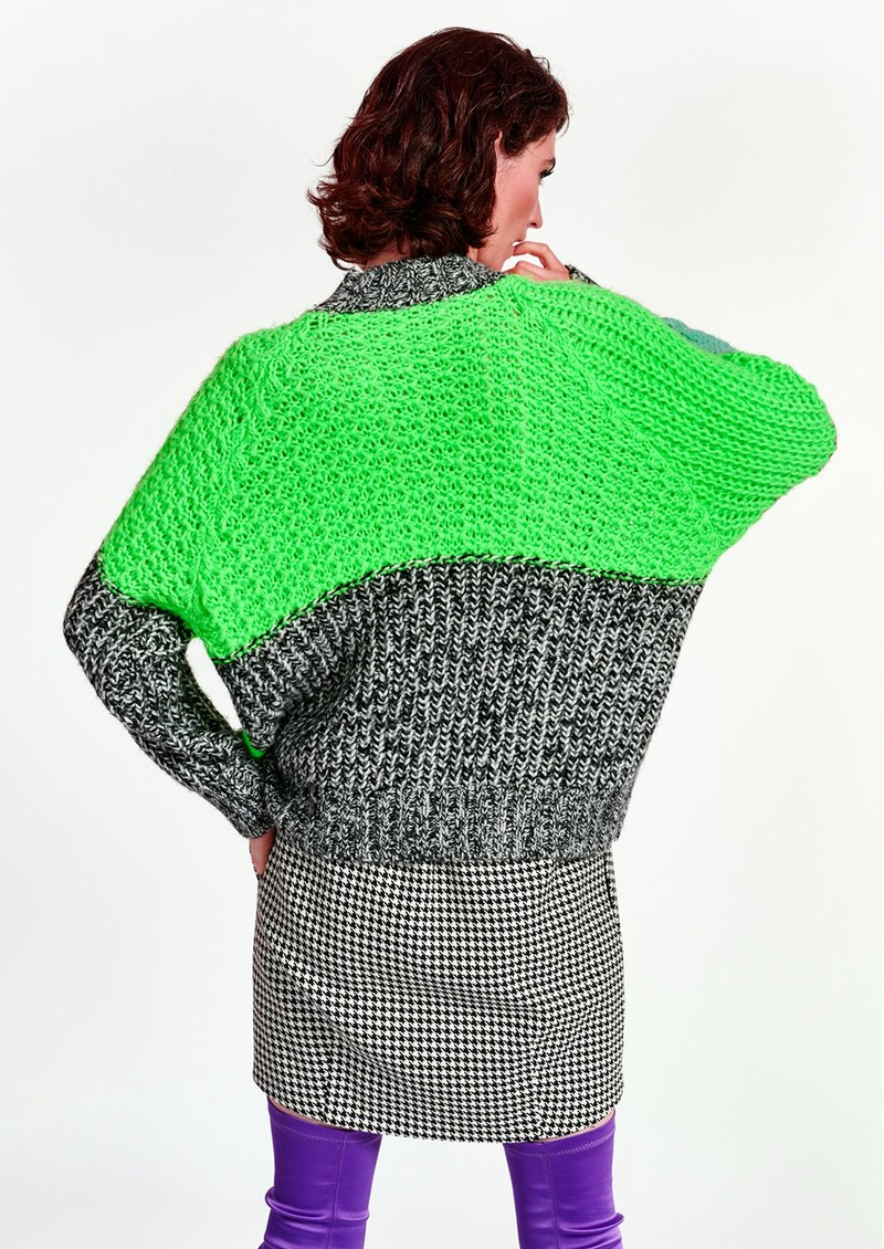 ESSENTIEL ANTWERP Wames Patchwork Jumper - Vista Green main image