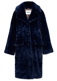 ESSENTIEL ANTWERP Wellmade Faux Fur Coat - Royal Blue