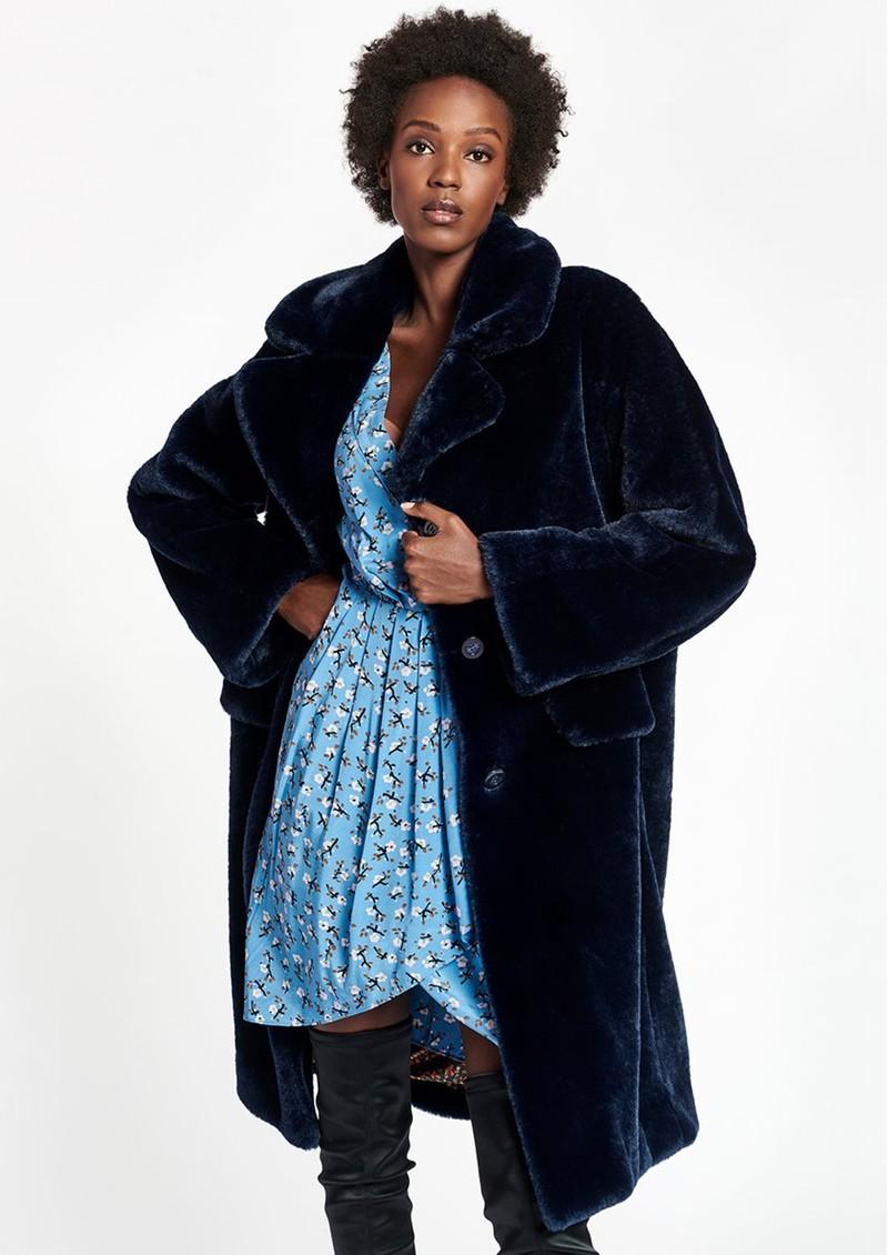 ESSENTIEL ANTWERP Wellmade Faux Fur Coat - Royal Blue main image