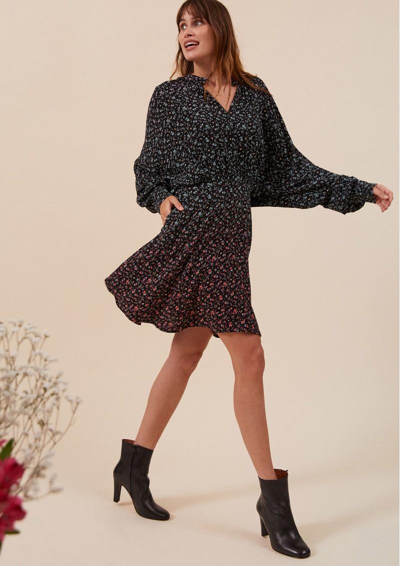 IDANO Cindy Printed Dress - Black  main image