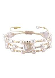 MISHKY Maya Pearl Beaded Bracelet - Gold