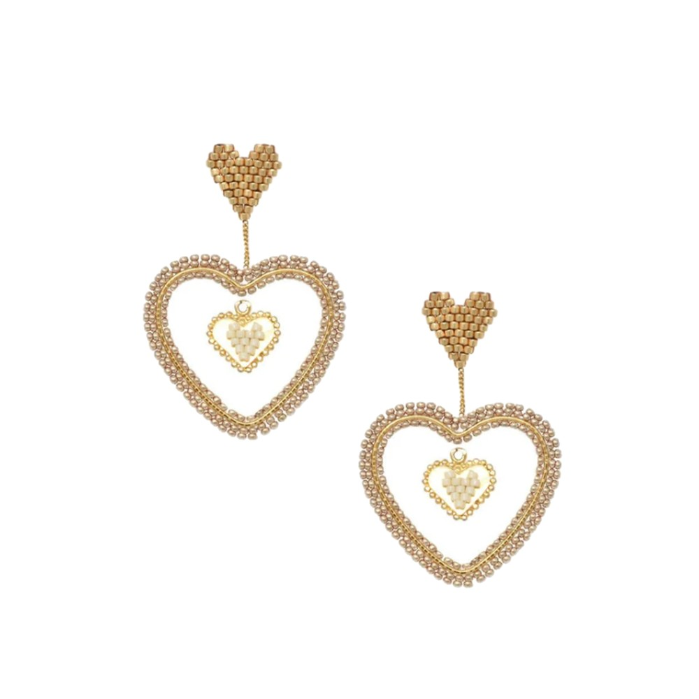 Sacred Heart Beaded Earrings - Gold