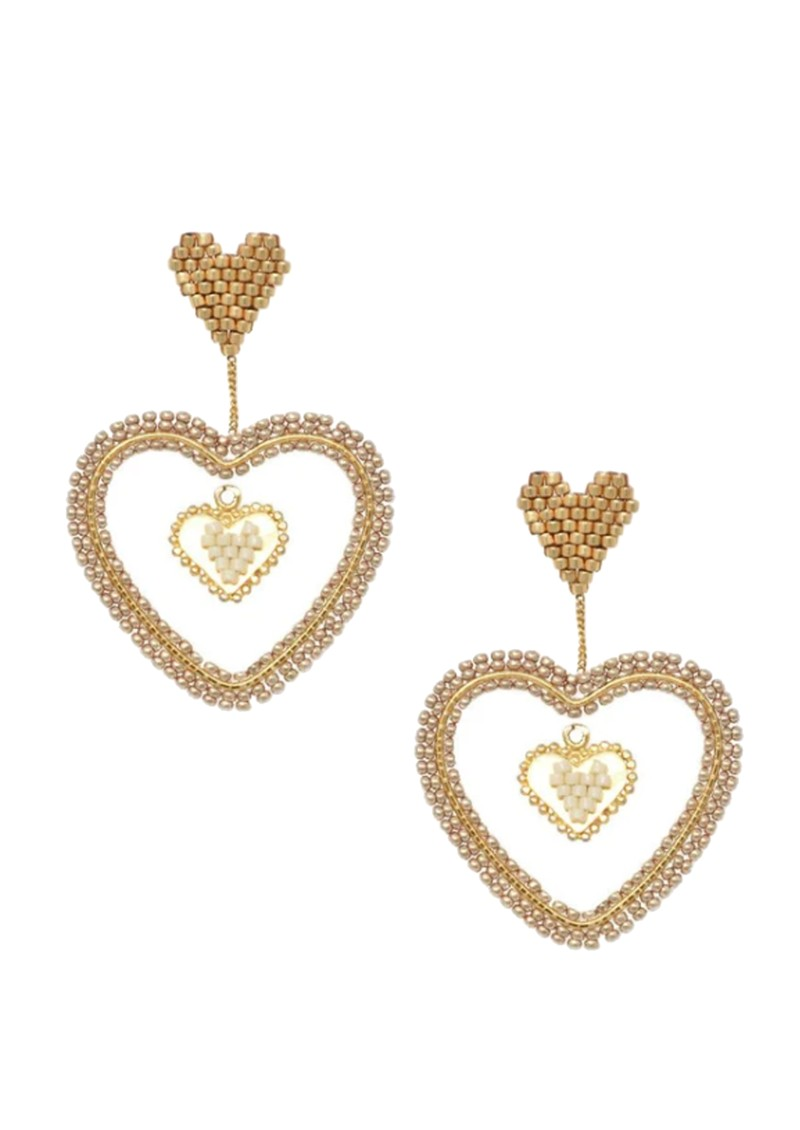 MISHKY Sacred Heart Beaded Earrings - Gold main image