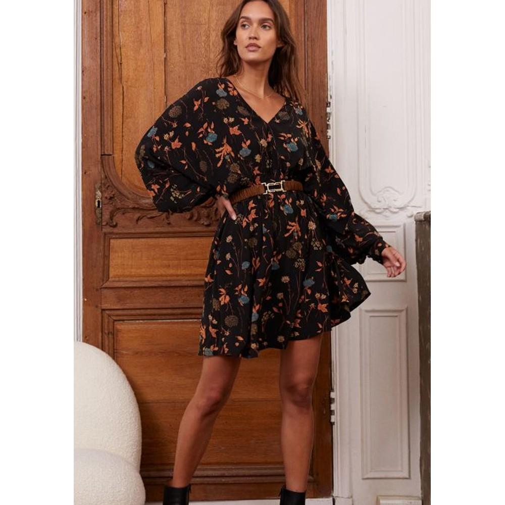 Hilda Printed Short Dress - Black
