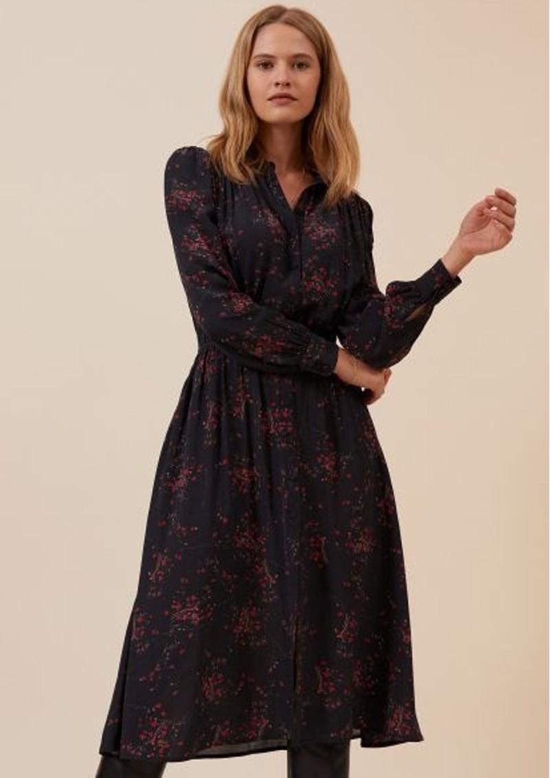 IDANO Belen Printed Midi Dress - Black main image