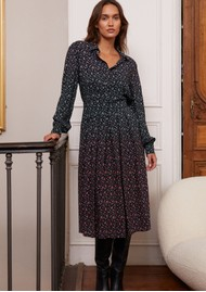 IDANO Calista Printed Midi Dress - Black