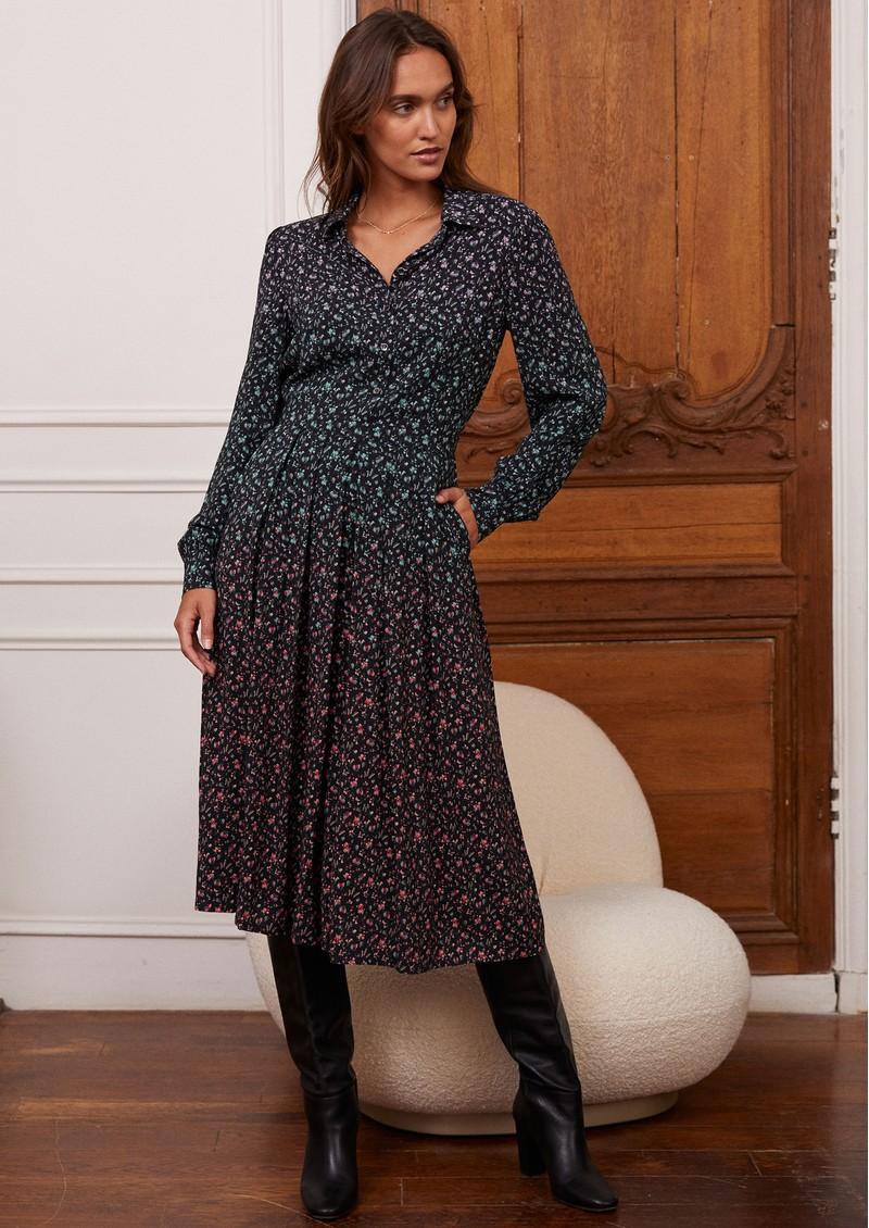 IDANO Calista Printed Midi Dress - Black main image