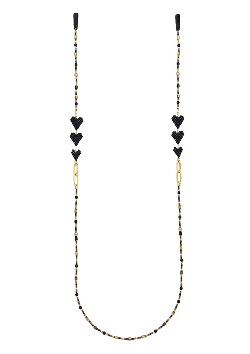 MISHKY Love Drop Beaded Glasses Strap - Black & Gold main image