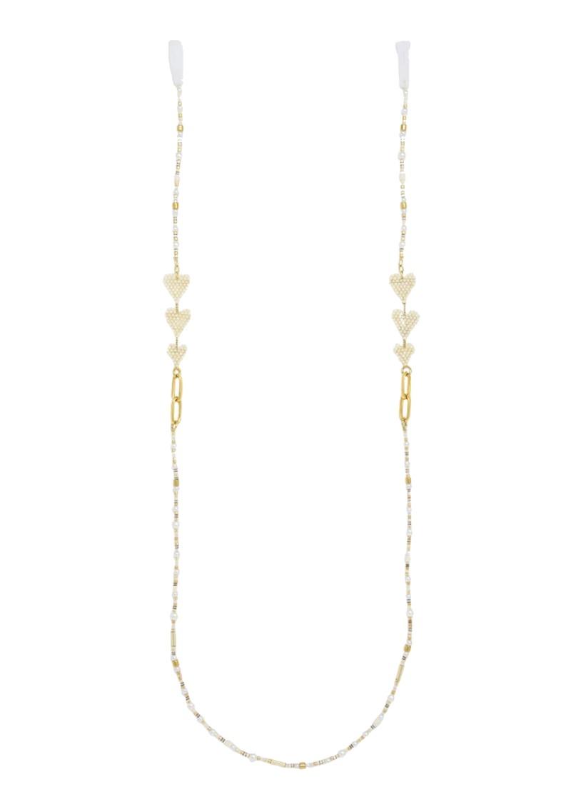 MISHKY Love Drop Beaded Glasses Strap - White & Gold main image