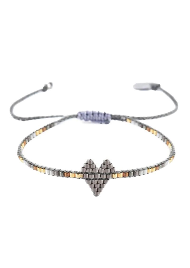 MISHKY Heartsy Row Beaded Bracelet - Gunmetal main image
