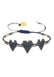 MISHKY Triple Heartsy Beaded Bracelet - Blue & Copper