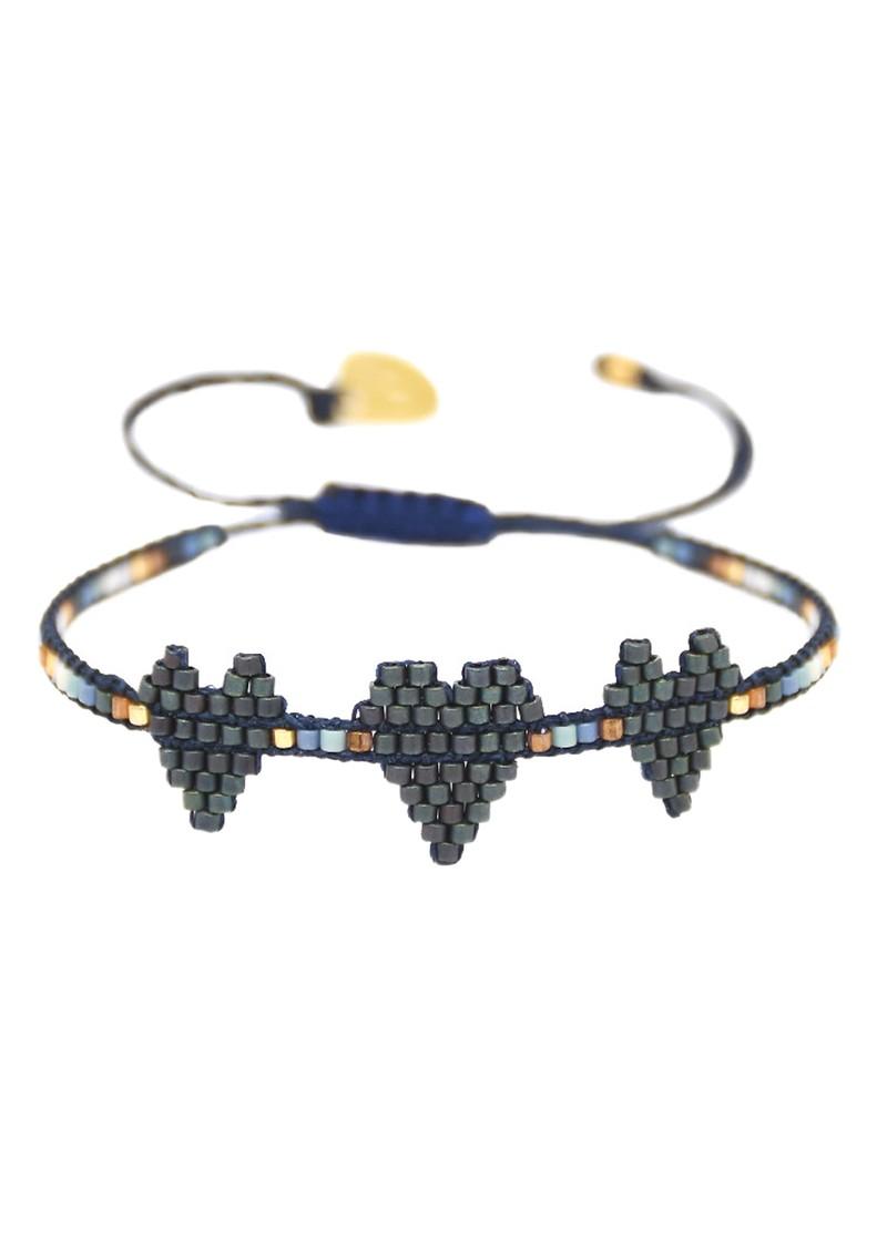 MISHKY Triple Heartsy Beaded Bracelet - Blue & Copper main image
