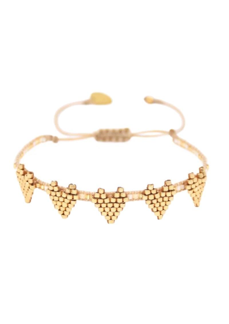 MISHKY Multi Heart Row Beaded Bracelet - Gold main image