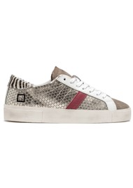 D.A.T.E Hill Low Leather Trainers - Pong Platinum
