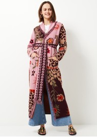 HAYLEY MENZIES Long Belted Cardigan - Leopard Pink & Burgundy