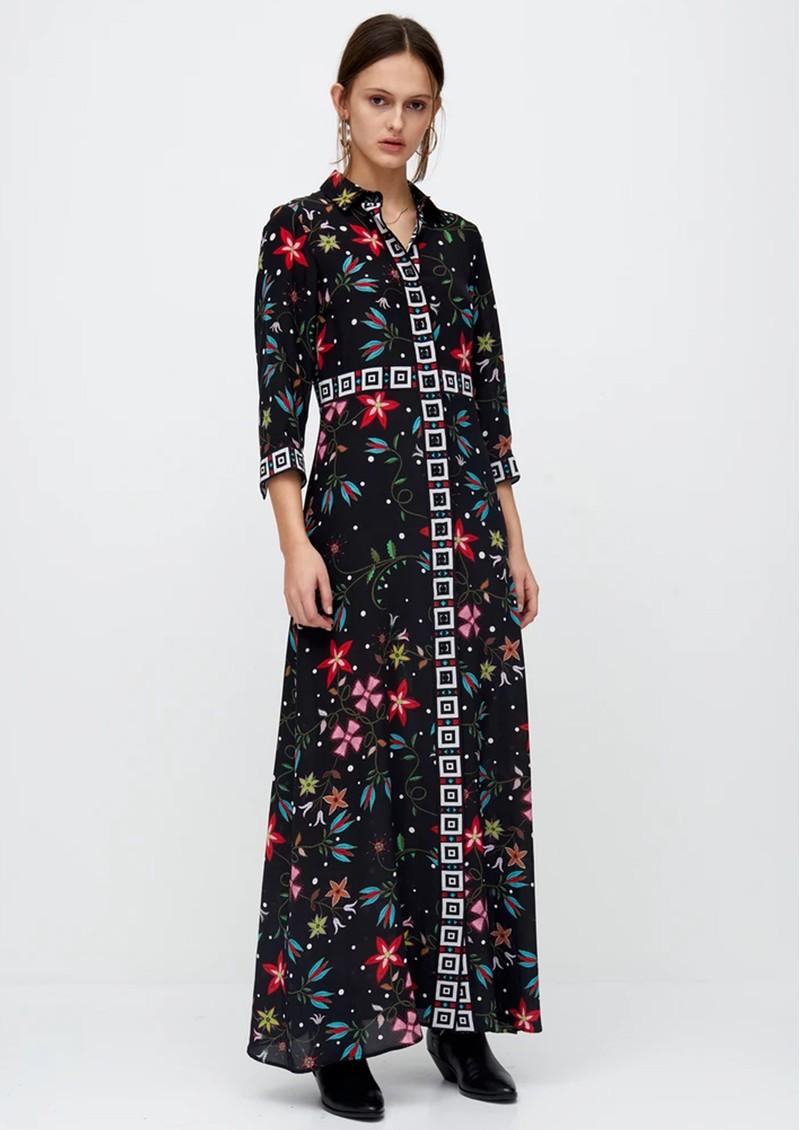 HAYLEY MENZIES Long Silk Shirt Dress - Siouxsie Black main image