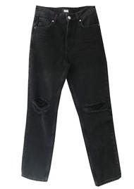 Paige Denim Sarah High Rise Straight Leg Ankle Jeans - Black Meadow