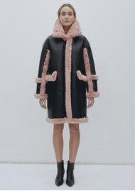 JAKKE Azaela Faux Shearling Coat - Black & Pink