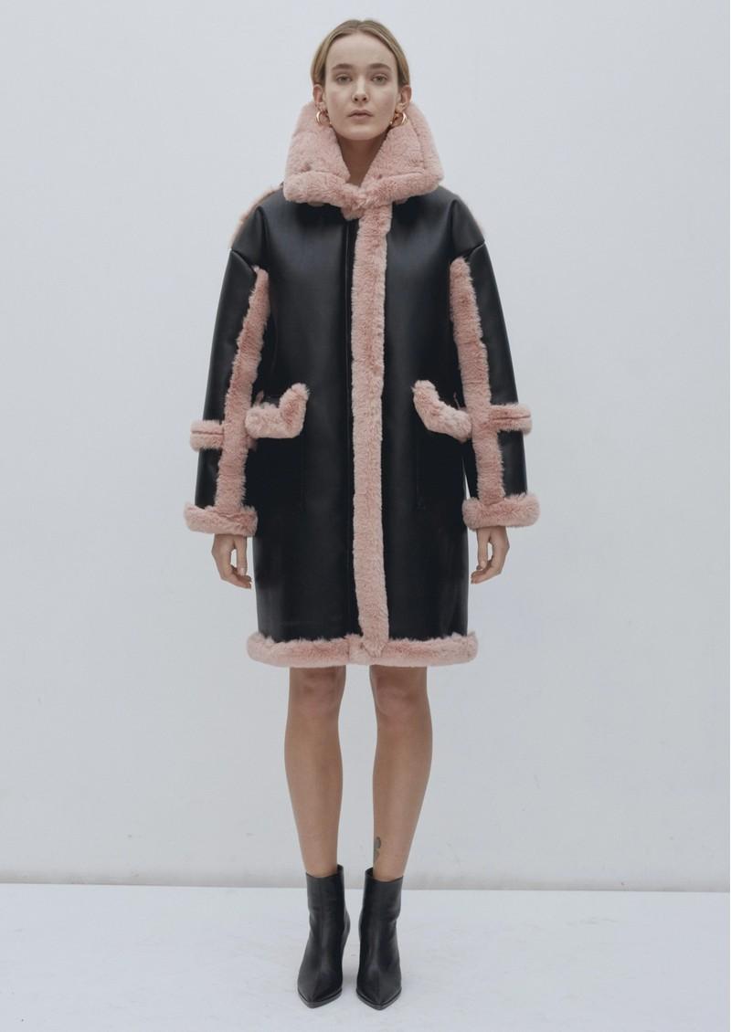 JAKKE Azaela Faux Shearling Coat - Black & Pink main image