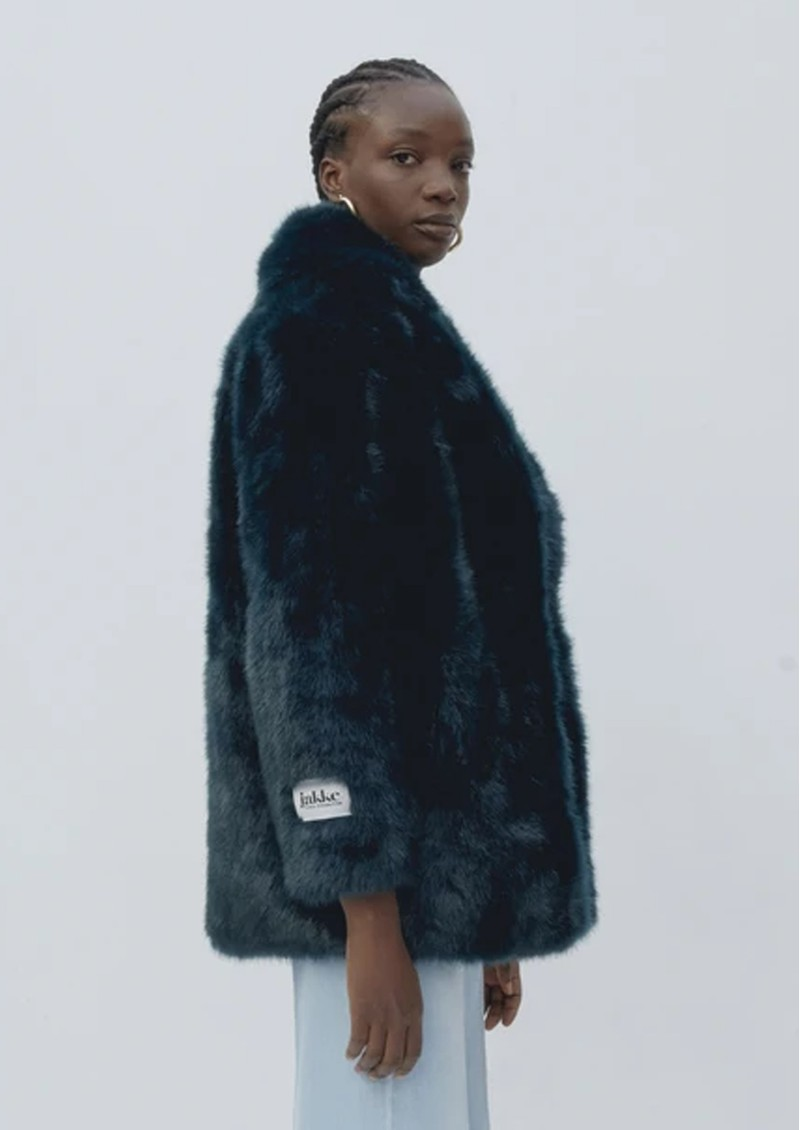 JAKKE Heather Faux Fur Jacket - Teal main image