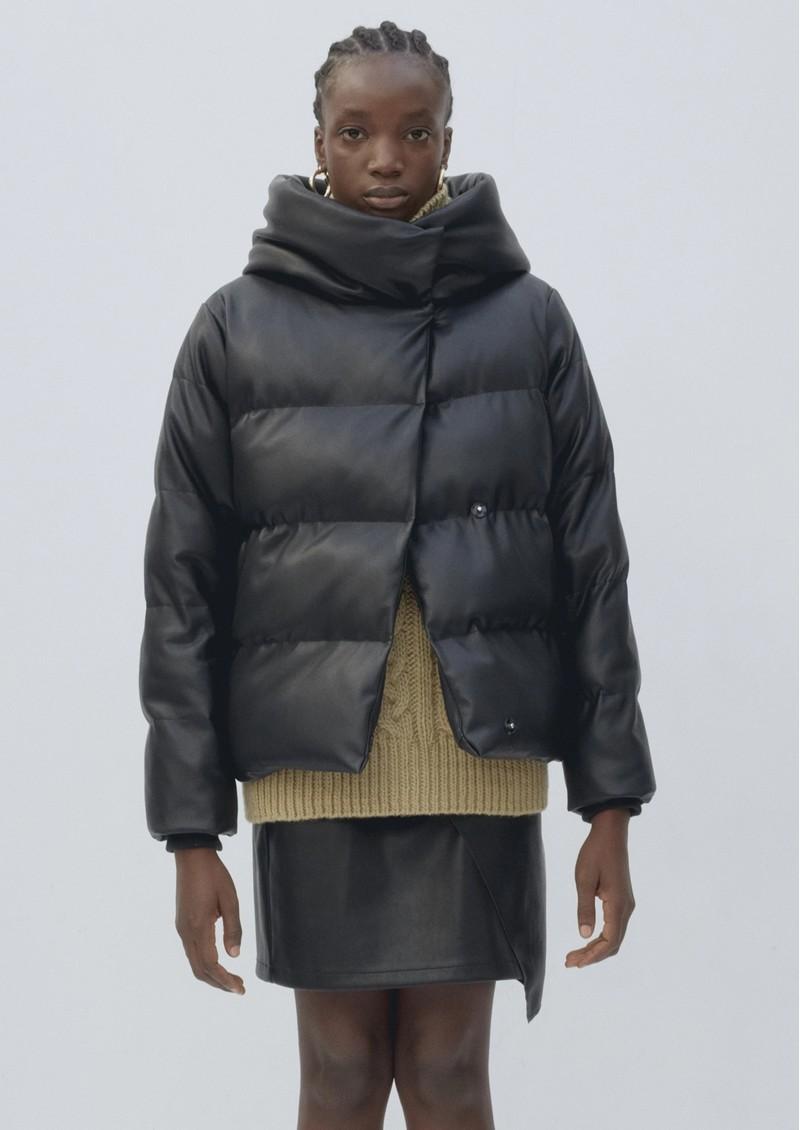 JAKKE Patricia Faux Leather Puffer Jacket - Black main image