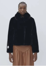 JAKKE Tommy Faux Fur Cropped Jacket - Black