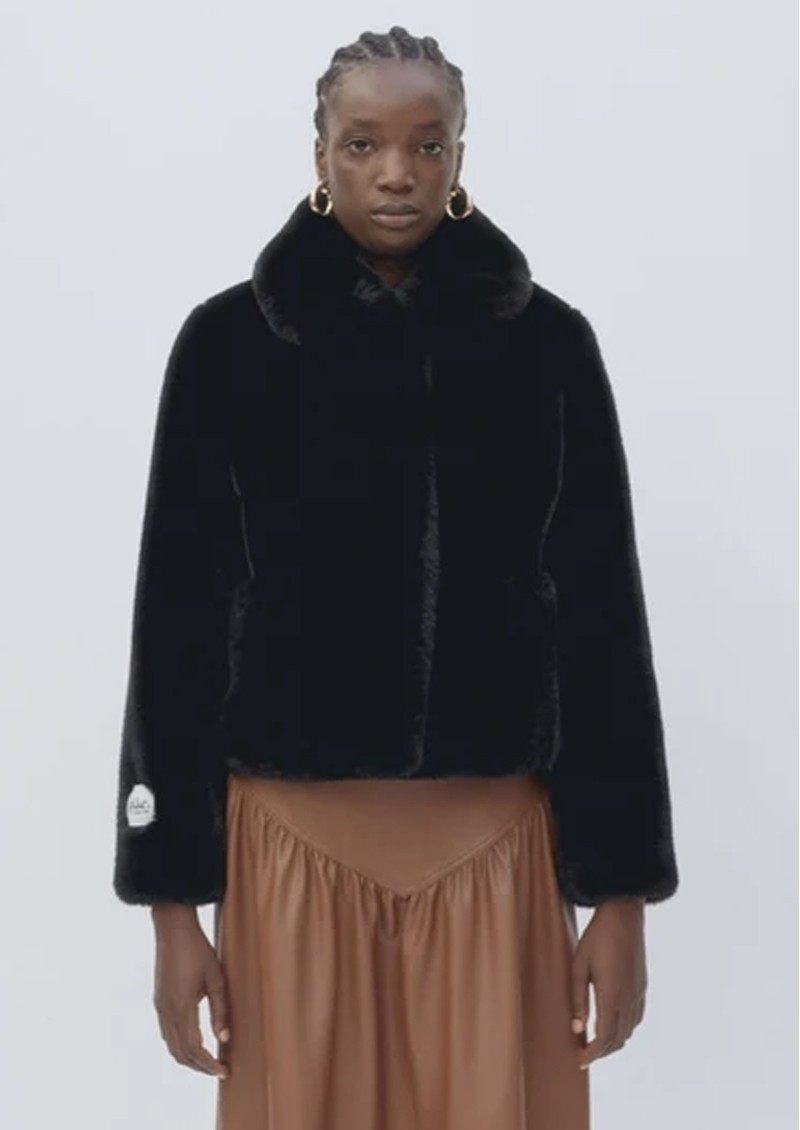 Tommy Faux Fur Cropped Jacket - Black main image