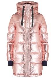 DUALIST Biana Reversible Parka Coat - Navy & Pink Metal