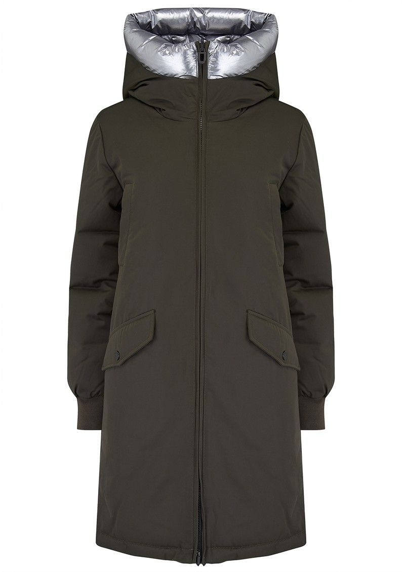 Jane Reversible Parka Coat - Khaki & Gunmetal main image