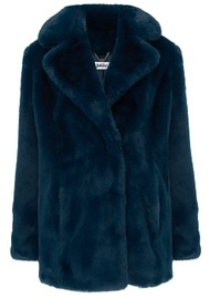JAKKE Heather Faux Fur Jacket - Teal