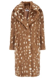 JAKKE Katie Faux Fur Long Coat - Bambi