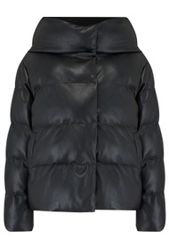 JAKKE Patricia Faux Leather Puffer Jacket - Black