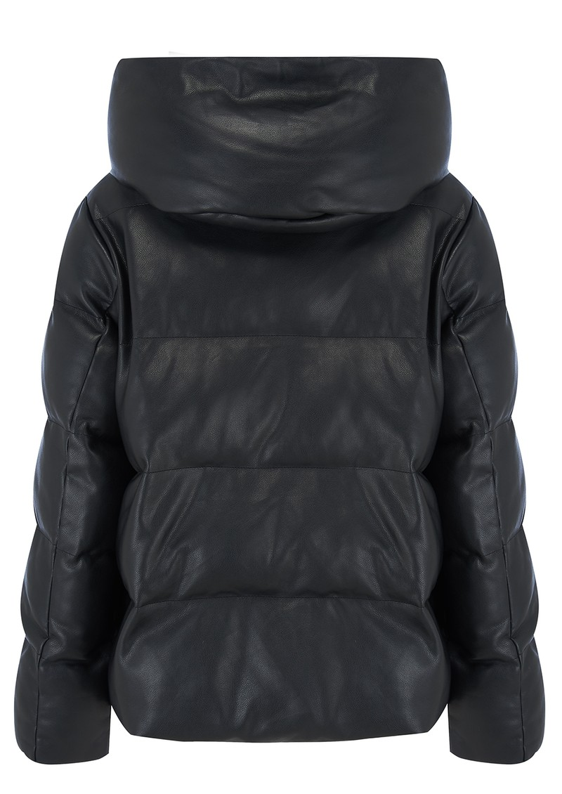 Patricia Faux Leather Puffer Jacket - Black main image