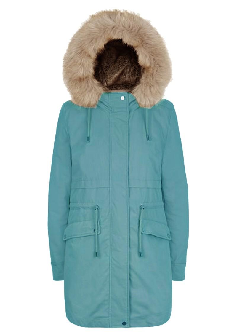 PARKA LONDON Caversham Faux Fur Lined Parka - Ocean Teal main image