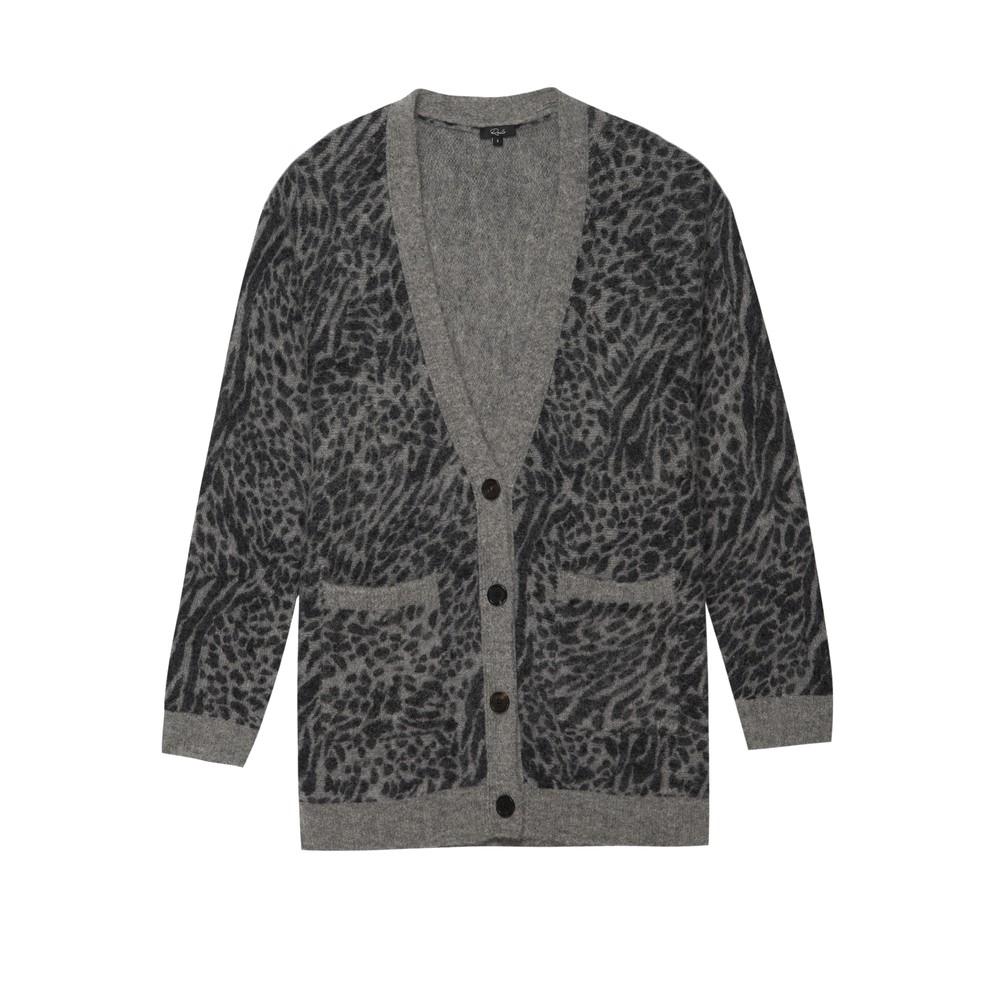 Oslo Wool Mix Cardigan - Grey Animal