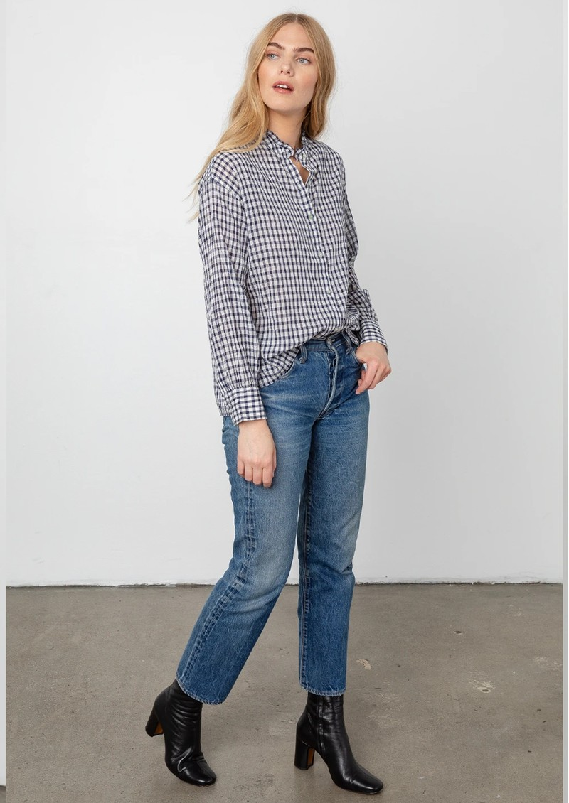 Rails Andie Cotton Blouse - Navy Check main image