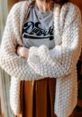 Loslo Wool Mix Chunky Knit Cardigan - Milk additional image