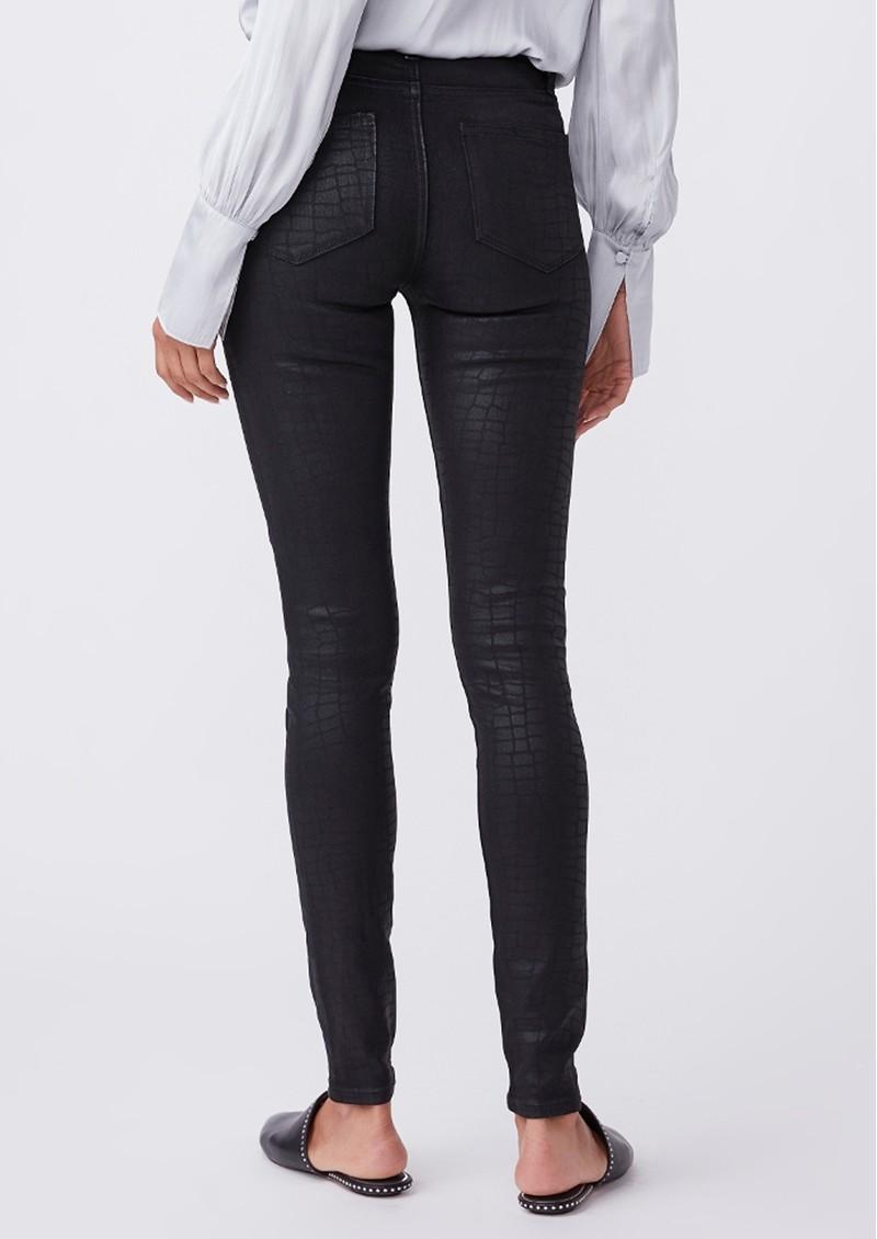 Paige Denim Hoxton Ultra Skinny Coated Jeans - Black Croc main image