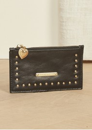 FABIENNE CHAPOT Lucky Leather Card Holder Purse - Black