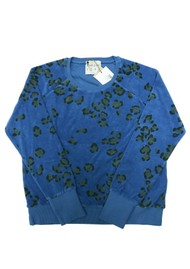 JUMPER 1234 Leopard Print Cotton Sweatshirt - Bright Blue