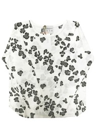 JUMPER 1234 Leopard Print Cotton Tee - White