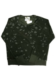 JUMPER 1234 Leopard Print Cotton Sweatshirt - Army