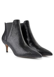 SHOE THE BEAR Siena Chelsea Snake Leather Bootie - Black