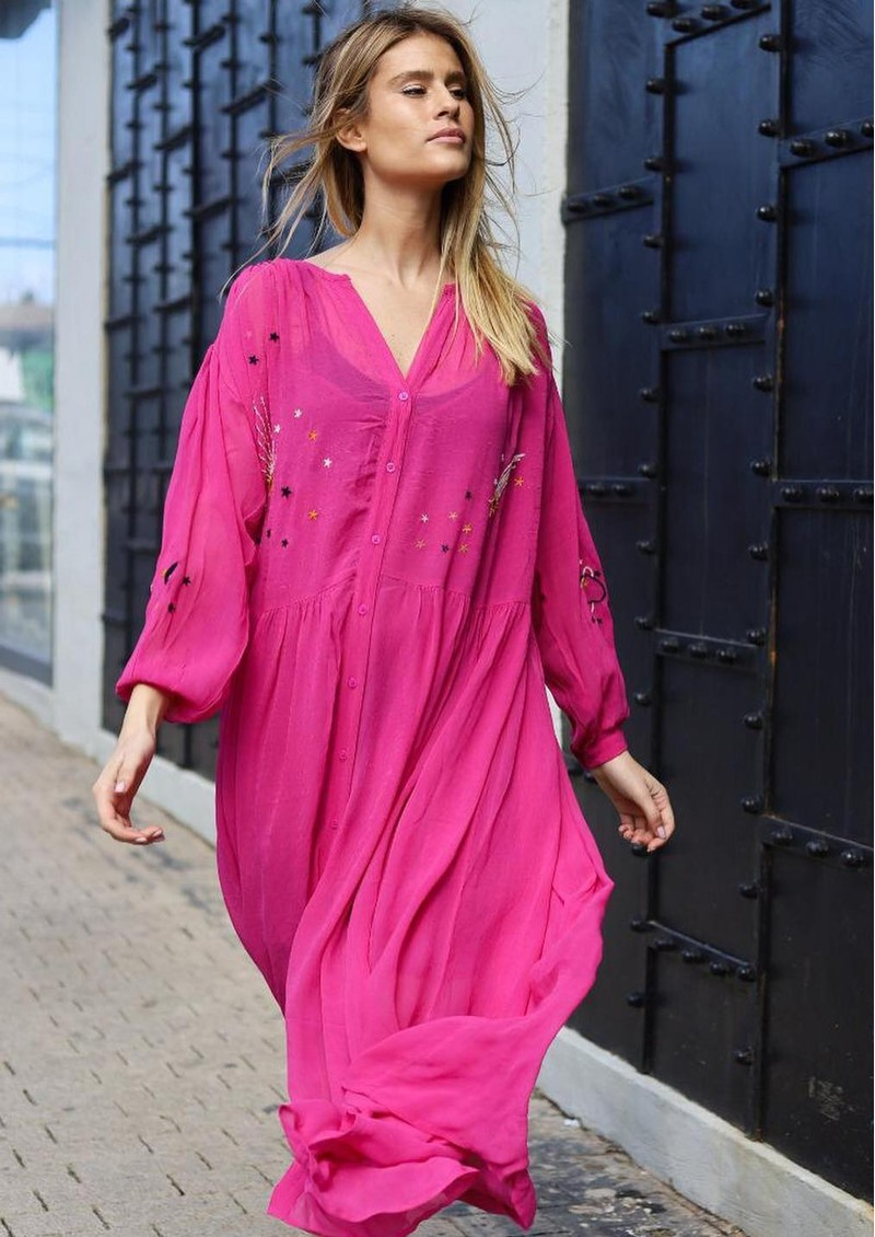 ME369 Piper Embroidered Maxi Dress - Pink main image