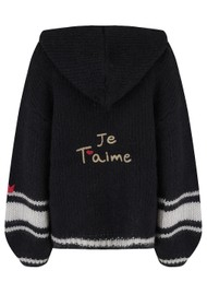 ME369 Nancy Embroidered Hooded Cardigan - Black