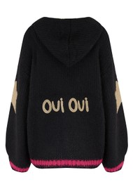 ME369 Kai Embroidered Hooded Cardigan - Black