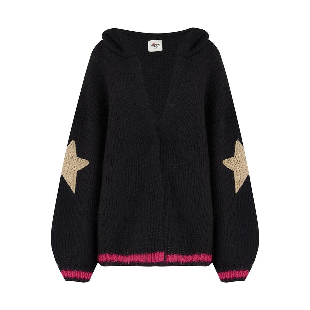 Kai Embroidered Hooded Cardigan - Black
